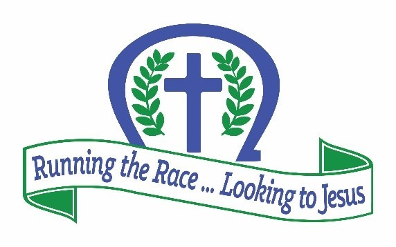 2021 Convention logo with cross, laurel leaves, horseshoe, and banner with the words Running the Race … Looking to Jesus