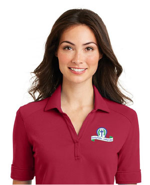 2021 Convention Polo: red v-neck with blue, green, white convention logo on right front