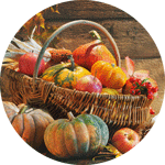 fall-themed: pumpkins and gourds in basket