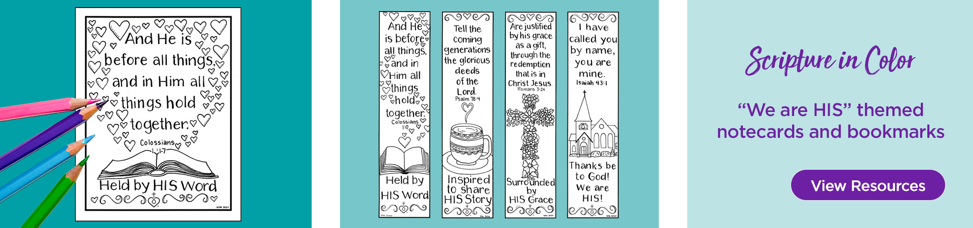 Scripture in Color: We are His themed notecards and bookmarks