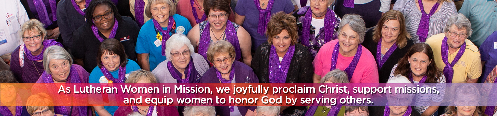 As Lutheran Women in Mission, we joyfully proclaim Christ, support missions, and equip women to honor God by serving others.
