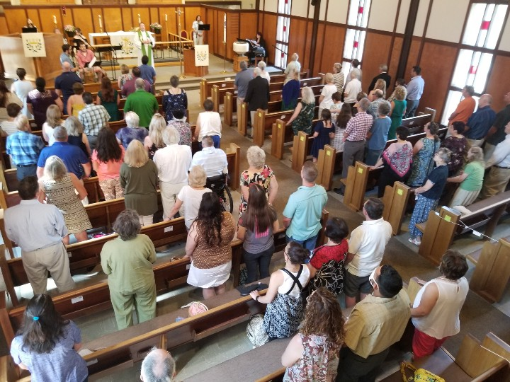 people gathered for worship at St. Paul's