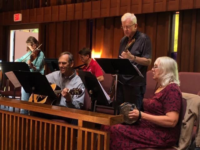Bell choir playing