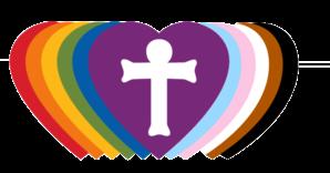 Rainbow of hearts and cross